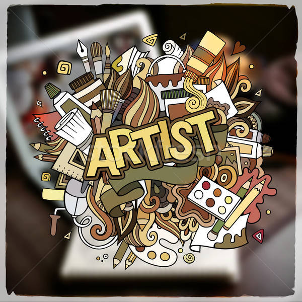 Desenho animado vetor rabisco artista palavra Foto stock © balabolka