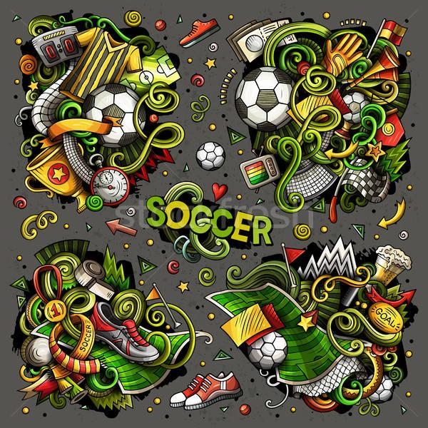 Vektor firkák rajz szett futball tárgyak Stock fotó © balabolka