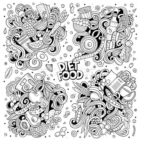 Vector doodles cartoon set of Diet food combinations of objects and elements Stock photo © balabolka