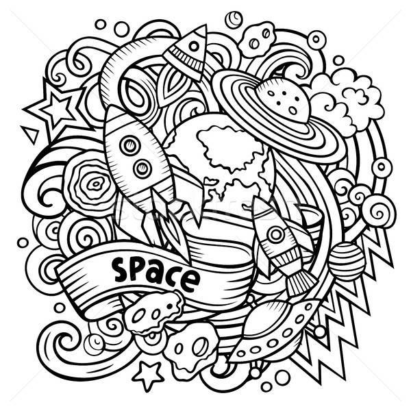 Karikatür vektör karalamalar uzay örnek hat Stok fotoğraf © balabolka