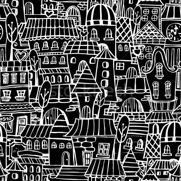 Rajz tündérmese rajz házak végtelen minta vektor Stock fotó © balabolka