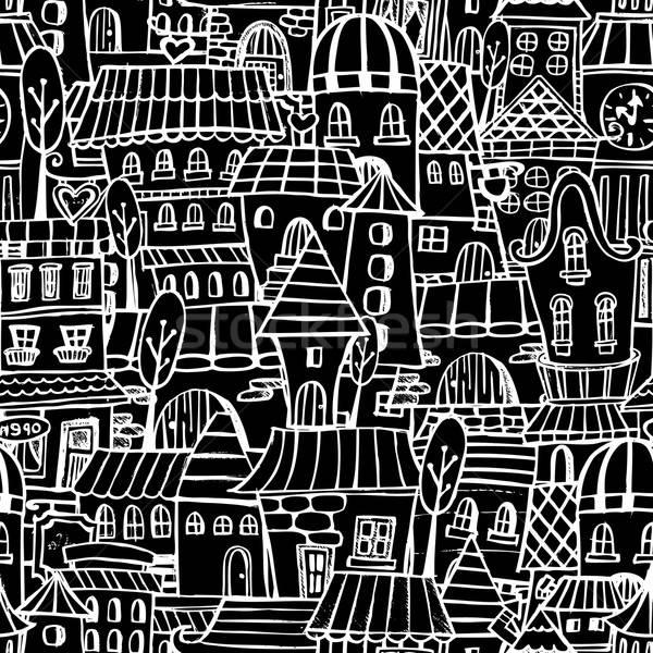 Cartoon bajki rysunek domów wektora Zdjęcia stock © balabolka