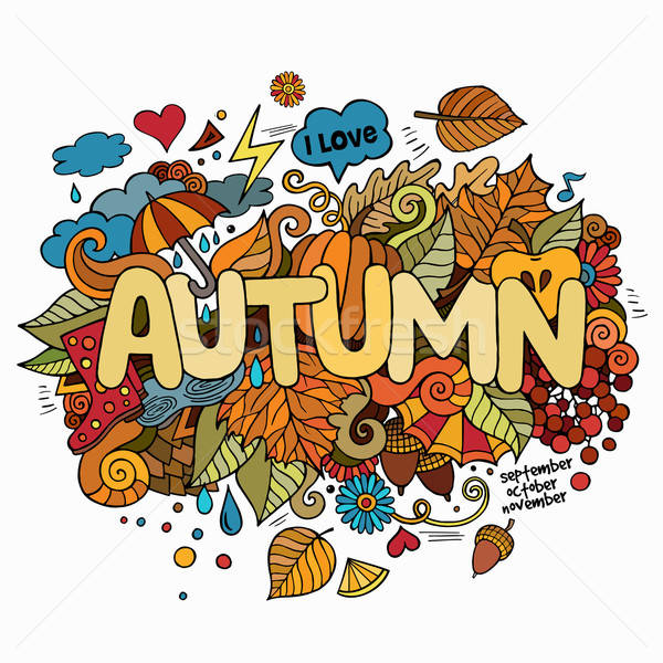 Autumn hand lettering and doodles elements background. Stock photo © balabolka