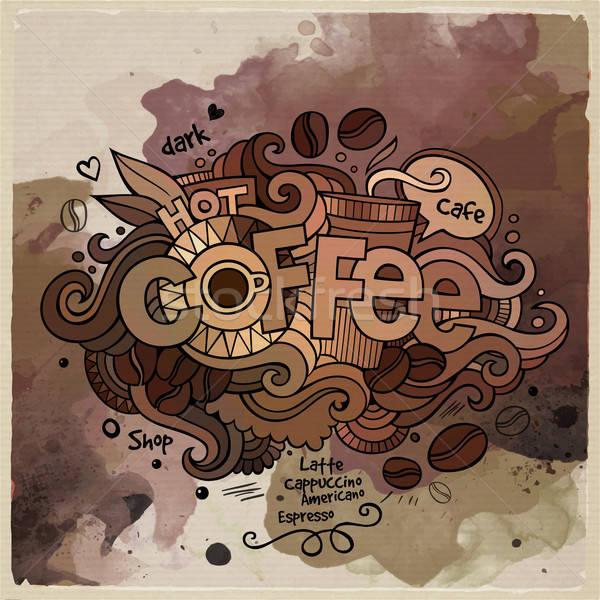 Stok fotoğraf: Kahve · suluboya · karikatür · el · karalamalar · elemanları