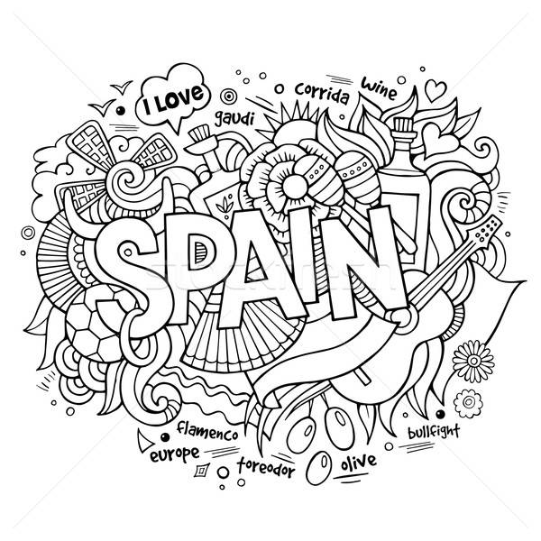 Spain country hand lettering and doodles elements Stock photo © balabolka