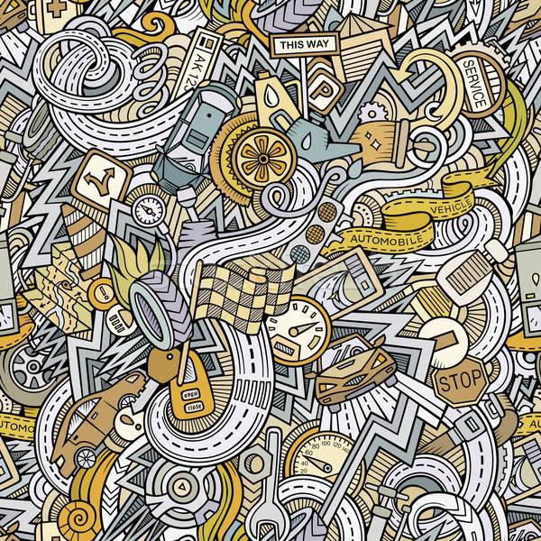 Cartoon bazgroły samochodu stylu bezszwowy Zdjęcia stock © balabolka