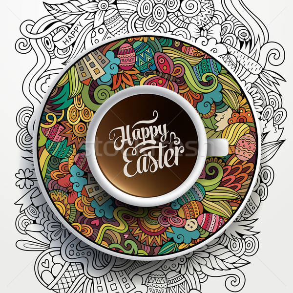 Stock photo: Vector Easter doodles illustration with a Cup of coffee