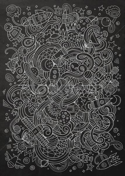 Cartoon ruimte illustratie schoolbord gedetailleerd Stockfoto © balabolka