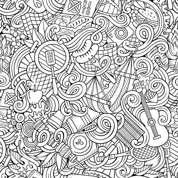 Cartoon hand-drawn picnic doodles seamless pattern Stock photo © balabolka