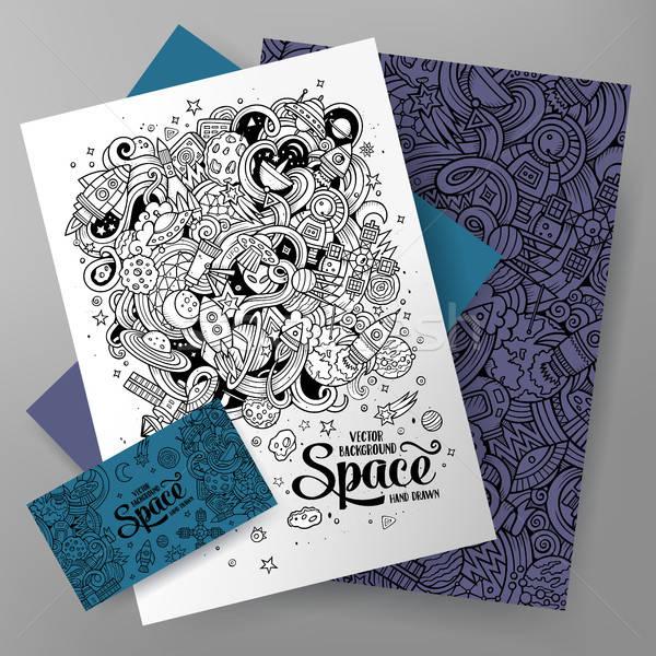 Cartoon cute vector doodles Space corporate identity set Stock photo © balabolka