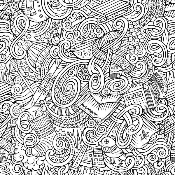 Stockfoto: Cartoon · winterseizoen · cute · lijn