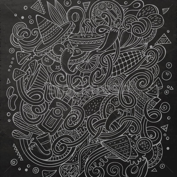 Rajz aranyos firkák kézzel rajzolt mexikói étel illusztráció Stock fotó © balabolka