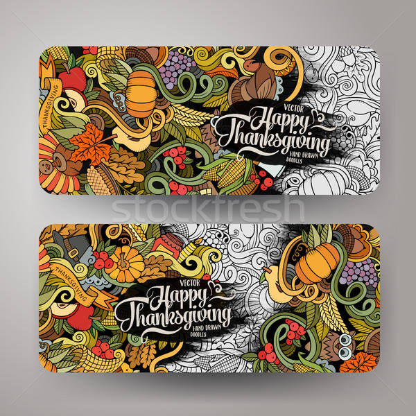 Stock photo: Cartoon vector hand-drawn Doodle Happy Thanksgiving Day cards