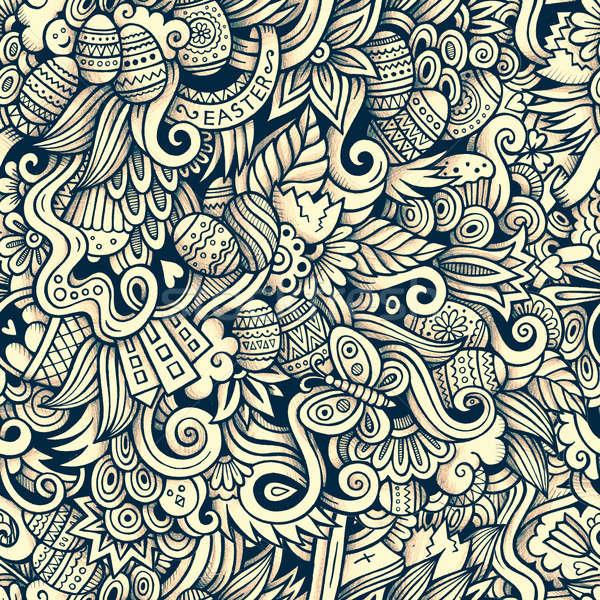 Desenho animado páscoa padrão linha Foto stock © balabolka