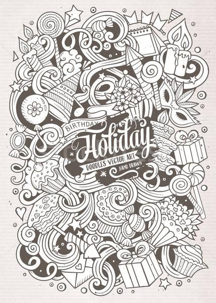Desenho animado férias ilustração linha arte Foto stock © balabolka