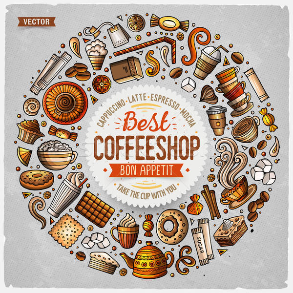 Stock photo: Set of Coffee cartoon doodle objects, symbols and items