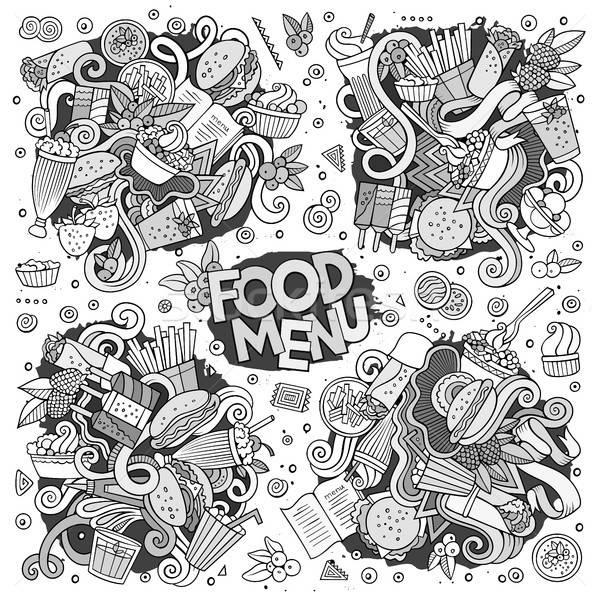 Fast food vector symbolen Stockfoto © balabolka