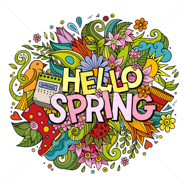 Cartoon cute doodles hand drawn Hello Spring illustration Stock photo © balabolka