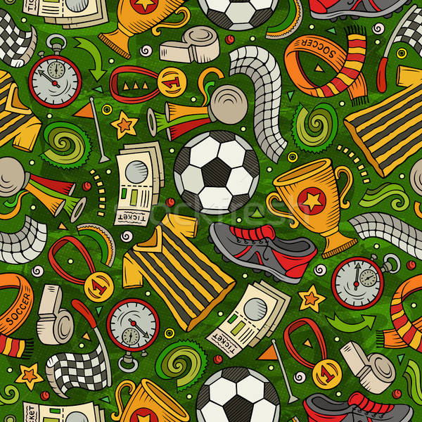 Cartoon voetbal symbolen objecten communie Stockfoto © balabolka
