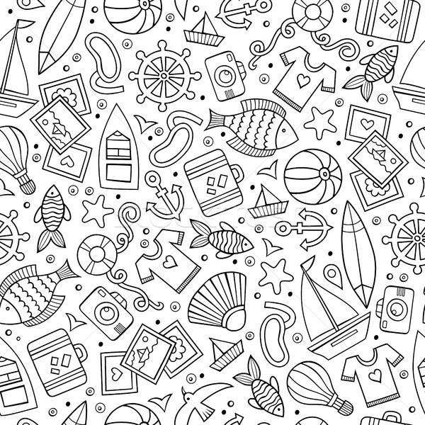 Cartoon summer time seamless pattern Stock photo © balabolka
