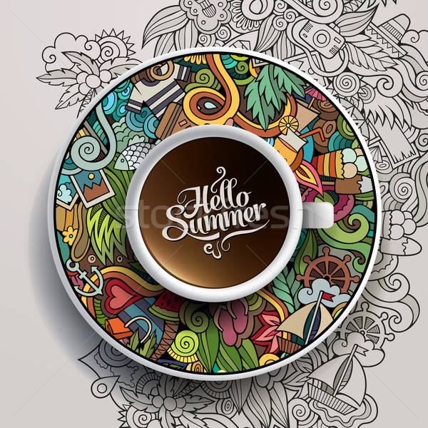 Cup of coffee and hand drawn watercolor summer doodles Stock photo © balabolka
