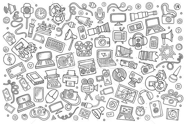 Stock photo: Sketchy vector hand drawn Doodle equipment and devices objects set