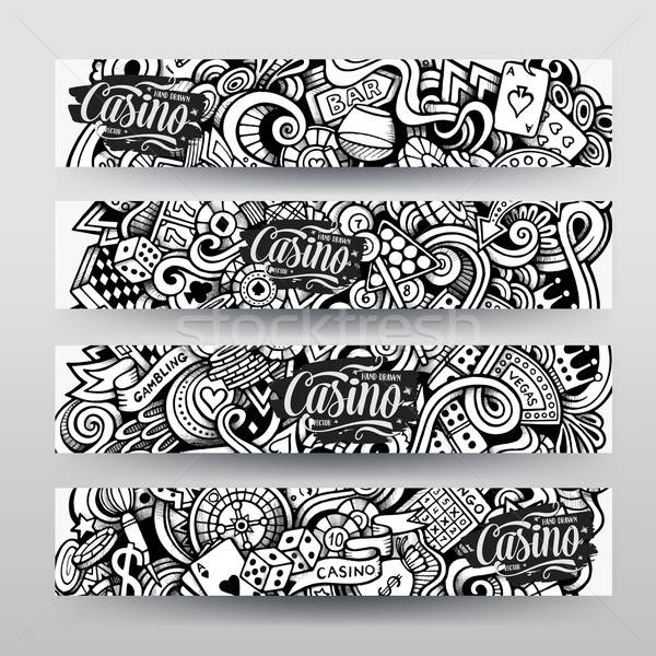 Graphics vector hand drawn sketchy trace Casino Doodle banners Stock photo © balabolka