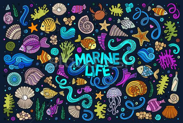 Kleurrijk ingesteld mariene leven objecten vector Stockfoto © balabolka