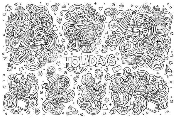 Linha arte conjunto férias objeto vetor Foto stock © balabolka