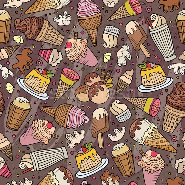 Desenho animado sorvete colorido detalhado Foto stock © balabolka