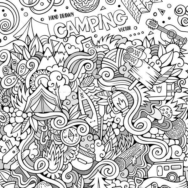 Foto stock: Desenho · animado · acampamento · ilustração · camping · linha