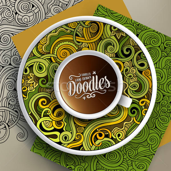 Cup of coffee and hand drawn curls nature doodles Stock photo © balabolka