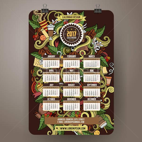 Karikatur Kritzeleien Kaffee Kalender farbenreich Hand gezeichnet Stock foto © balabolka