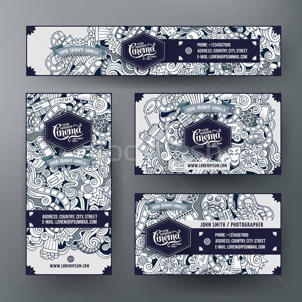 Corporate Identity templates set with doodles cinema theme Stock photo © balabolka