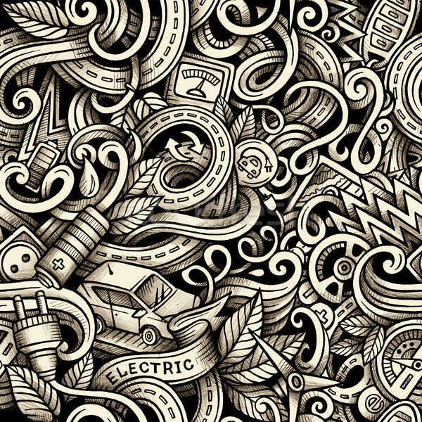 Cartoon doodles Electric cars season seamless pattern Stock photo © balabolka