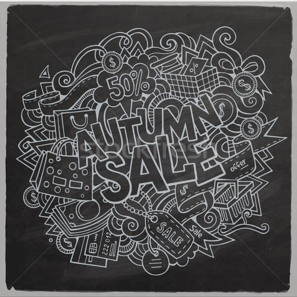 Karikatur cute Kritzeleien Hand gezeichnet Herbst Verkauf Stock foto © balabolka