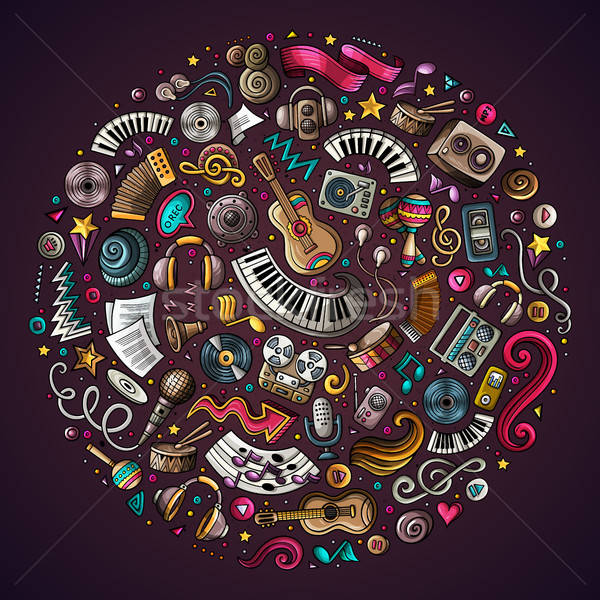 Set of Musical cartoon doodle objects Stock photo © balabolka