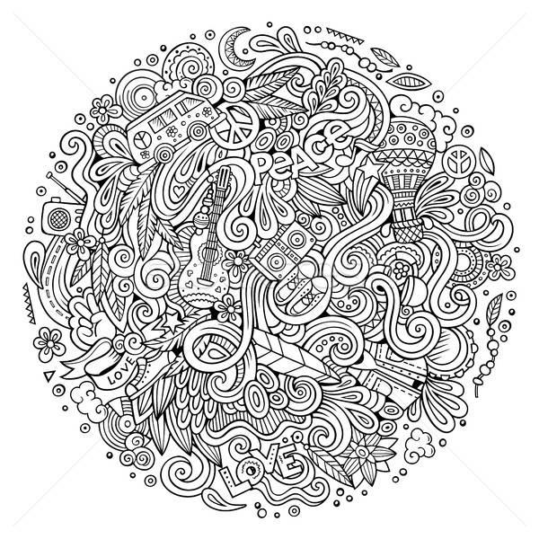 Rajz firkák hippi illusztráció vonal művészet Stock fotó © balabolka