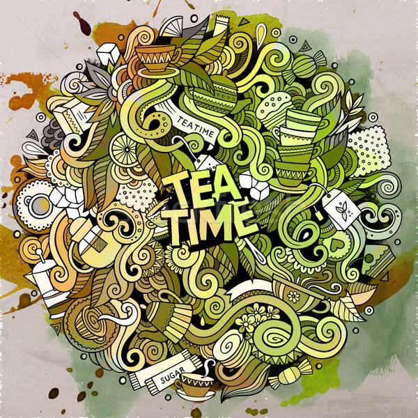 漫畫 可愛 塗鴉 茶 時間 插圖 商業照片 © balabolka