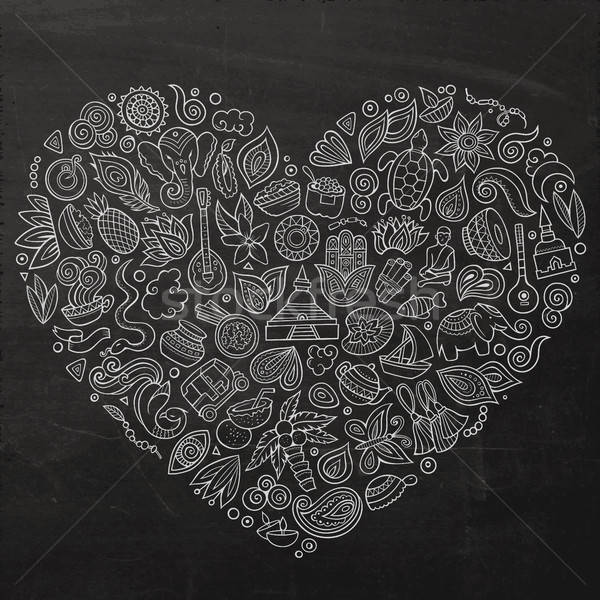 ベクトル セット インド 漫画 いたずら書き オブジェクト ストックフォト © balabolka