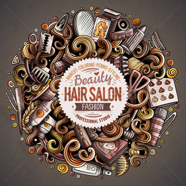 Cartoon cute doodles hand drawn Hair salon vector illustration Stock photo © balabolka