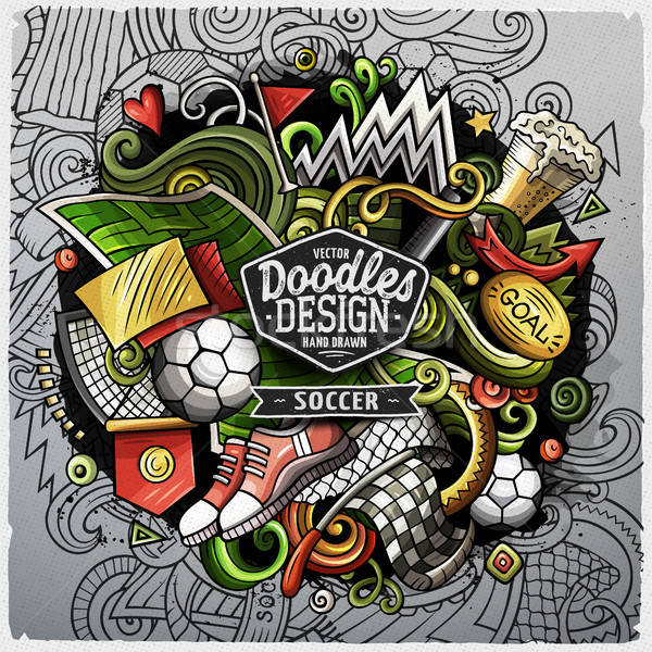 Soccer cartoon vector doodle illustration Stock photo © balabolka