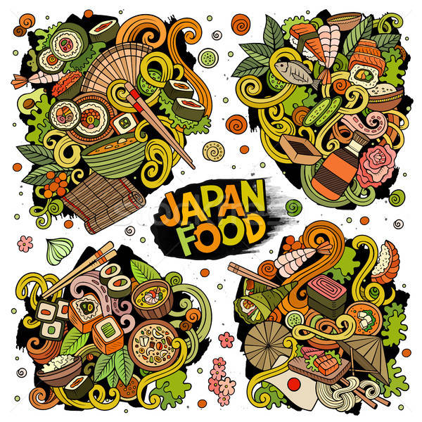 Vector hand drawn doodles cartoon set of Japan food combinations of objects Stock photo © balabolka
