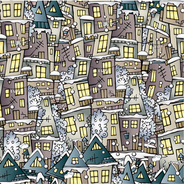 Cartoon fairy tale winter houses pattern Stock photo © balabolka