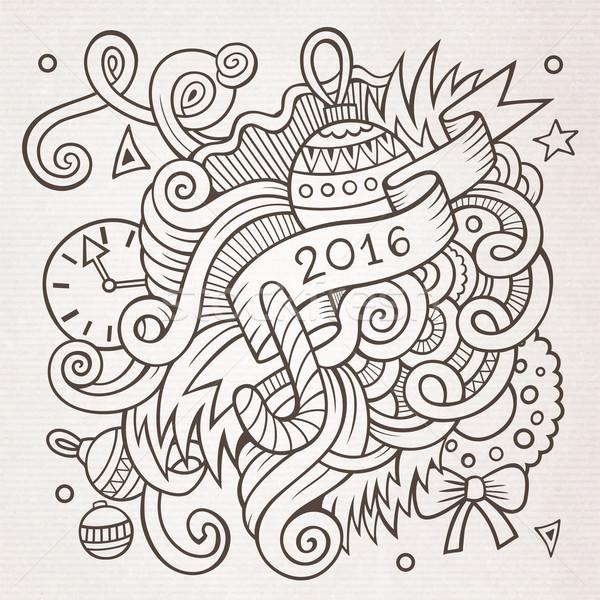 新年 塗鴉 分子 2016 向量 商業照片 © balabolka