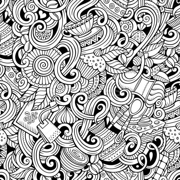 Cartoon hand-drawn doodles cafe, coffee shop  seamless pattern Stock photo © balabolka