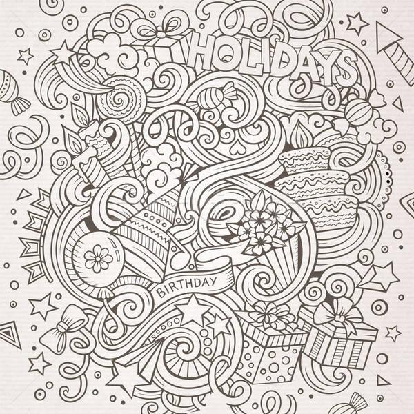 漫畫 塗鴉 假期 插圖 手工繪製 線 商業照片 © balabolka