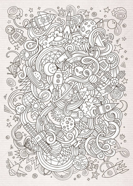 Cartoon hand-drawn doodles Space illustration. Line art detailed Stock photo © balabolka