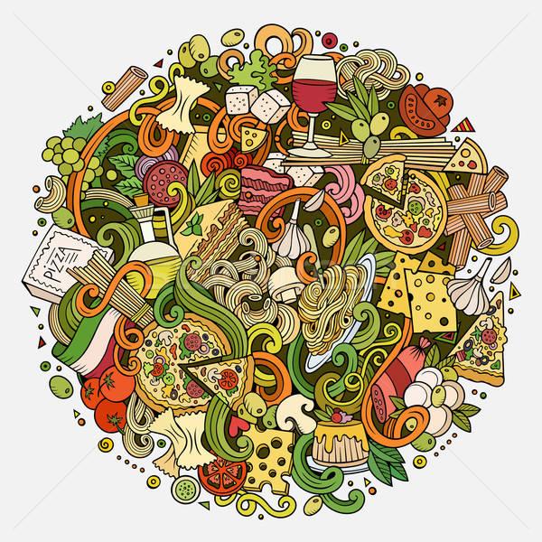 Cartoon scarabocchi cucina italiana illustrazione cute Foto d'archivio © balabolka