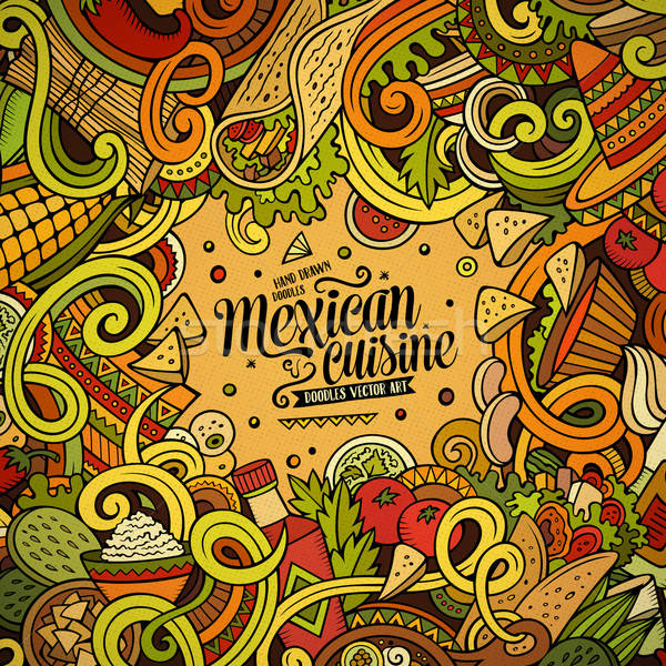Stock photo: Cartoon mexican food doodles frame design